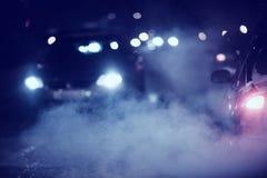 Night traffic lights Stock Photography