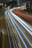 Light trail. Night Traffic in midtown of Hong Kong Royalty Free Stock Photography