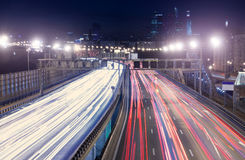 Night traffic Moscow city Royalty Free Stock Image