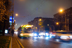 Night traffic in Moscow Royalty Free Stock Images