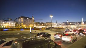 Night traffic on the Moskvoretskaya Embankment near the park Zaryadye in Moscow, Russia Royalty Free Stock Images
