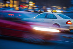 Night traffic with motion blur Stock Images