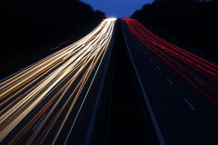 Night traffic motion blur Stock Photography