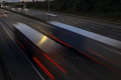 Night traffic on the motorway Stock Images