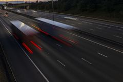 Night traffic on the motorway Stock Image