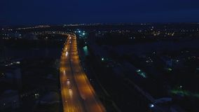 Night traffic movement at the center of Moscow, aerial urban view. Top view of Moscow city skyline at night stock video