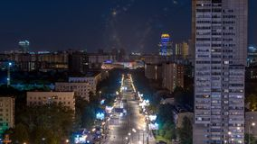 Night traffic movement at the center of Moscow timelapse, aerial urban view. Night traffic movement at the center of Moscow timelapse with houses and street stock footage