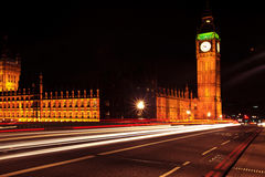 Night traffic near Big Ben Royalty Free Stock Photography
