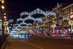 Night traffic at Nevsky prospekt illumianted for Christmas Stock Photo