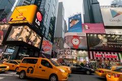 Night traffic in New York City Midtown Manhattan Stock Photos