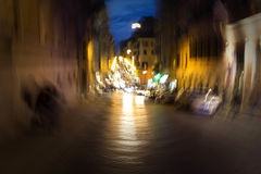 Night traffic in the old part of Rome, Italy Stock Photography