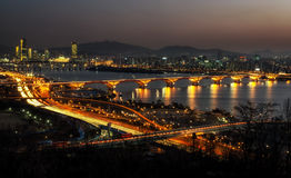 Night traffic over han river in seoul Stock Images