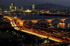 Night traffic over han river in seoul Stock Image