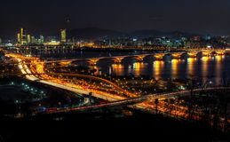 Night traffic over han river in seoul Royalty Free Stock Image