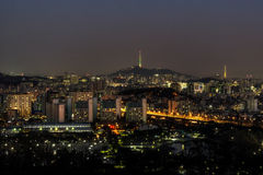 Night traffic over han river in seoul wi th the seoul n tower Royalty Free Stock Image