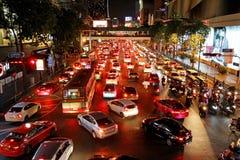 Night Traffic on Ploen Chit Road - Bangkok, Thailand.  royalty free stock images