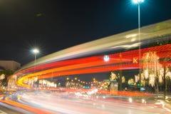Night traffic on Ratchadamnoen Road in the heart of Bangkok stock photo