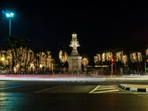 Night traffic on Ratchadamnoen Road in the heart of Bangkok royalty free stock photography