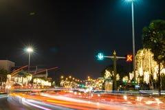 Night traffic on Ratchadamnoen Road in the heart of Bangkok royalty free stock photo