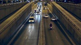 Night traffic scene in Barcelona. stock video