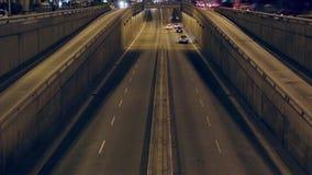 Night traffic scene in Barcelona.Time Lapse stock video footage