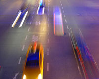 Night traffic in Shanghai. China. Cars in motion blur Stock Image