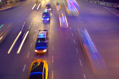 Night traffic in Shanghai. China. Taxis in line and motion blur Royalty Free Stock Photography