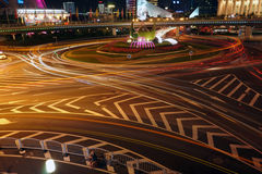 Night traffic 2. Night of shanghai is charming and beautiful royalty free stock images