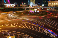 Night traffic. Night of shanghai is charming and beautiful Stock Photo