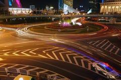 Night traffic. Night of shanghai is charming and beautiful stock photo