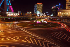 Night traffic. Night of shanghai is charming and beautiful Stock Images