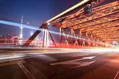 Night traffic in shanghai garden bridge Stock Photos