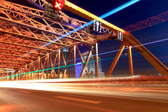 Night traffic in shanghai garden bridge Stock Photo
