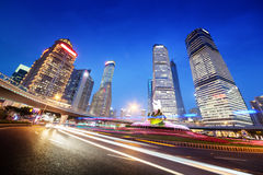 Night traffic in Shanghai. Lujiazui Finance centre Stock Photo