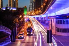 Night traffic in Shanghai. View of traffic at nighttime on highway in Shanghai Stock Images