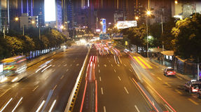 Night traffic at shenzhen Stock Image