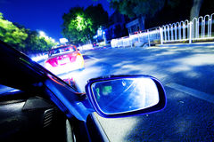 Night traffic,shoot from the window of rush car Stock Images
