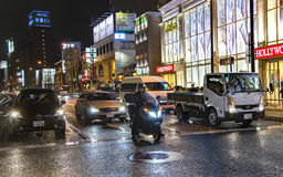 Night traffic on the streets of Tokyo near Shinagawa Station. JAPAN, TOKYO, APRIL, 02, 2017 - Night traffic on the streets of Tokyo near Shinagawa Station during Stock Images