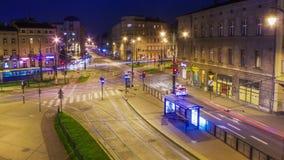 Night traffic timelapse. In Krakow, Poland stock footage