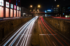 Night traffic on the tunnel near the Alexanderplatz Royalty Free Stock Image