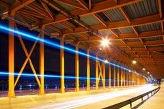 Night traffic in tunnel Stock Image
