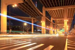 Night traffic under the viaduct royalty free stock photo