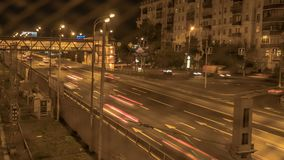 Night traffic on the urban thoroughfare,overpass,   and road junction. Hyper lapse stock video footage