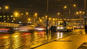Night traffic on the urban thoroughfare   and road junction. Moscow stock footage