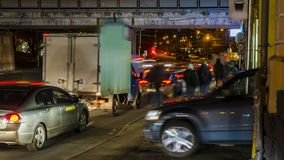 Night traffic on the urban thoroughfare   and road junction. Moscow stock video