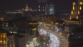 Night traffic on the urban thoroughfare   and road junction. Night traffic on the urban thoroughfare and road junction, moscow stock video footage