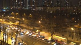 Night traffic on the urban thoroughfare   and road junction. Night traffic on the urban thoroughfare and road junction ,moscow stock video