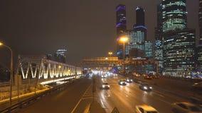 Night traffic on the urban thoroughfare   and road junction. Night traffic on the urban thoroughfare and road junction ,moscow stock footage