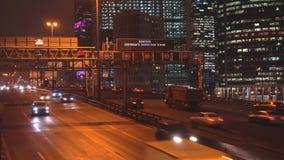 Night traffic on the urban thoroughfare   and road junction. Night traffic on the urban thoroughfare and road junction ,moscow stock video footage