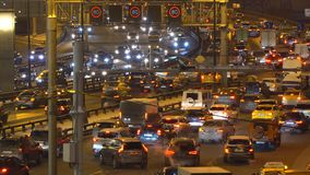 Night traffic on the urban thoroughfare   and road junction stock video